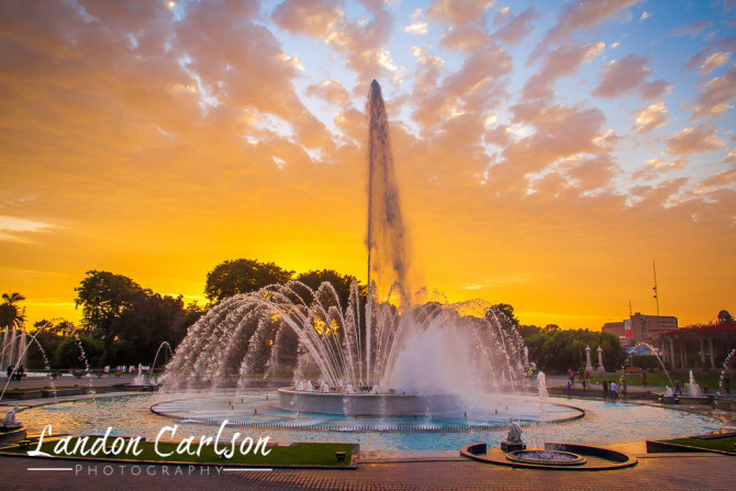 Fountain with Sunset