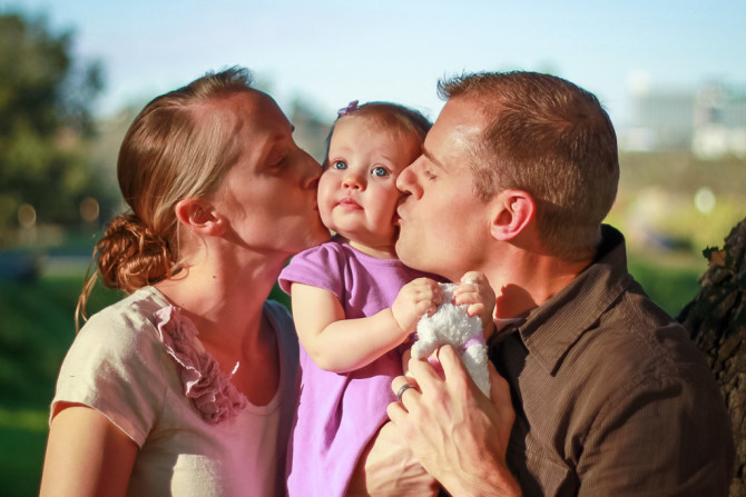 Parents Kissing Baby Picture